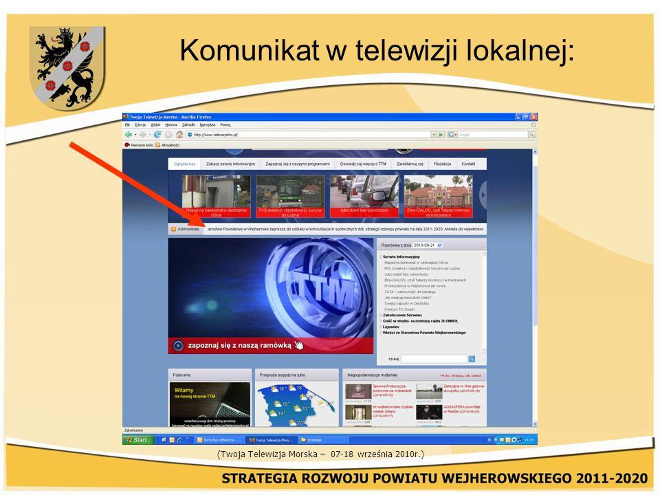 Komunikat w telewizji lokalnej: (Twoja Telewizja Morska – 07-18 września 2010r.)