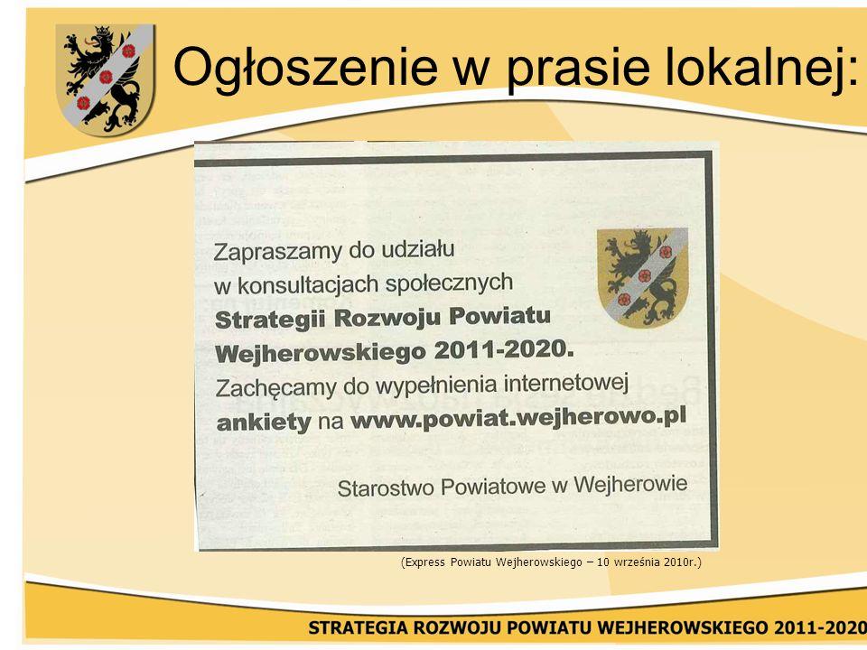 Ogłoszenie w prasie lokalnej: (Express Powiatu Wejherowskiego – 10 września 2010r.)