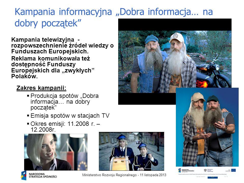 Kampania informacyjna Dobra informacja… na dobry początek Kampania telewizyjna - rozpowszechnienie źródeł wiedzy o Funduszach Europejskich. Reklama ko