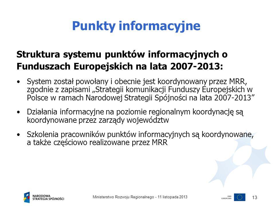 Punkty informacyjne Struktura systemu punktów informacyjnych o Funduszach Europejskich na lata 2007-2013: System został powołany i obecnie jest koordy