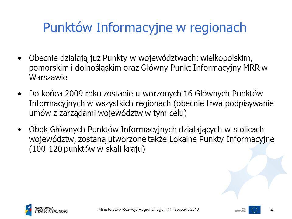 Punktów Informacyjne w regionach Obecnie działają już Punkty w województwach: wielkopolskim, pomorskim i dolnośląskim oraz Główny Punkt Informacyjny M