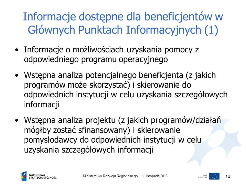 Informacje dostępne dla beneficjentów w Głównych Punktach Informacyjnych (1) Informacje o możliwościach uzyskania pomocy z odpowiedniego programu oper