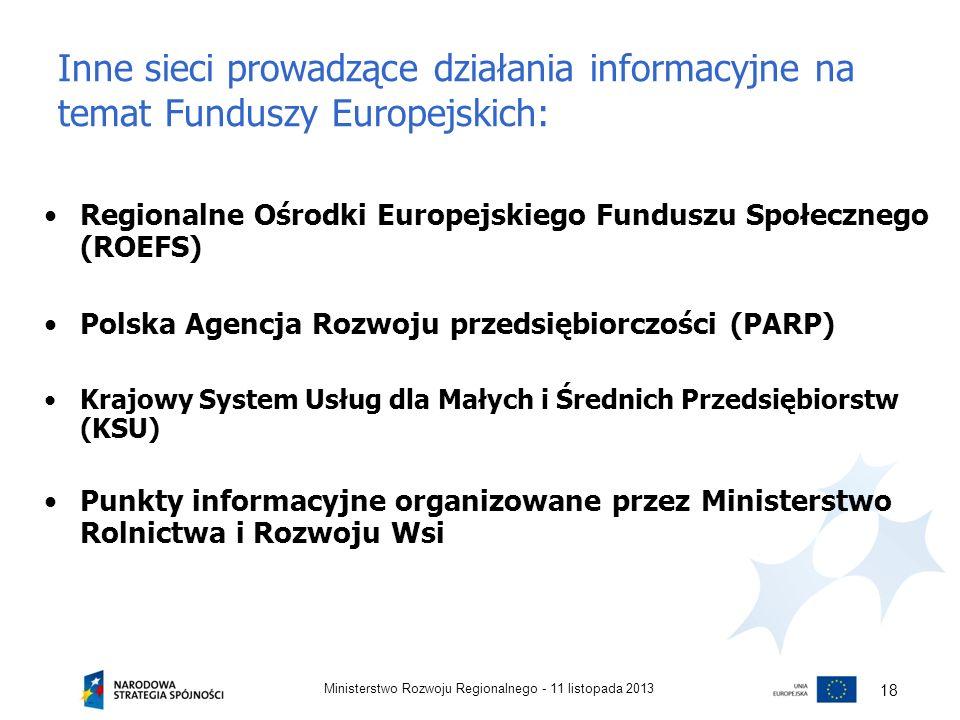 Inne sieci prowadzące działania informacyjne na temat Funduszy Europejskich: Regionalne Ośrodki Europejskiego Funduszu Społecznego (ROEFS) Polska Agen