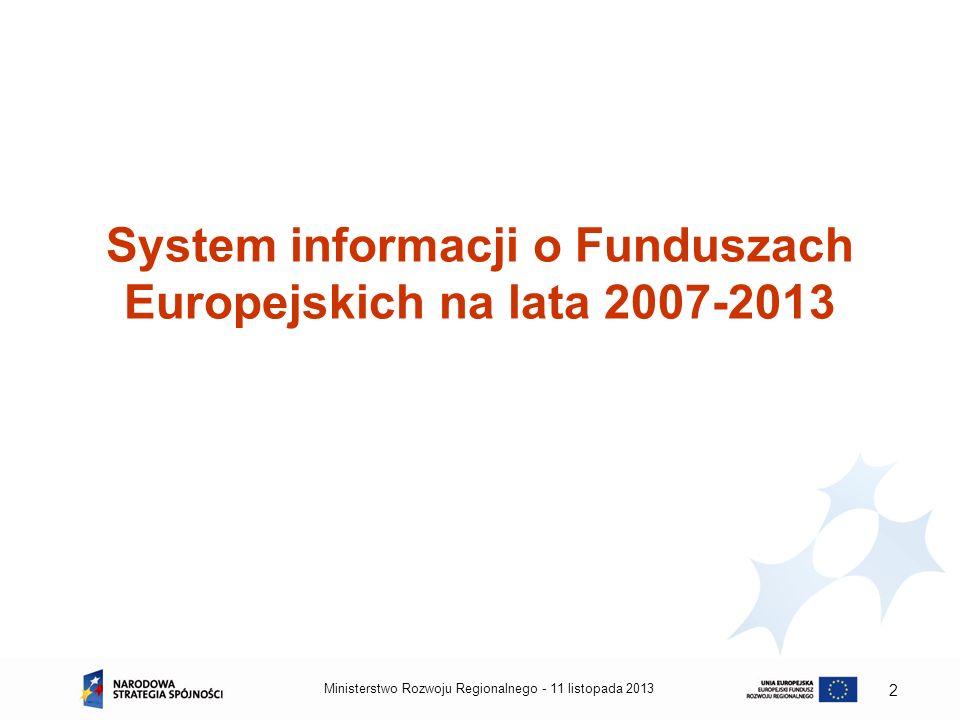 System informacji o Funduszach Europejskich na lata 2007-2013 11 listopada 2013Ministerstwo Rozwoju Regionalnego - 2