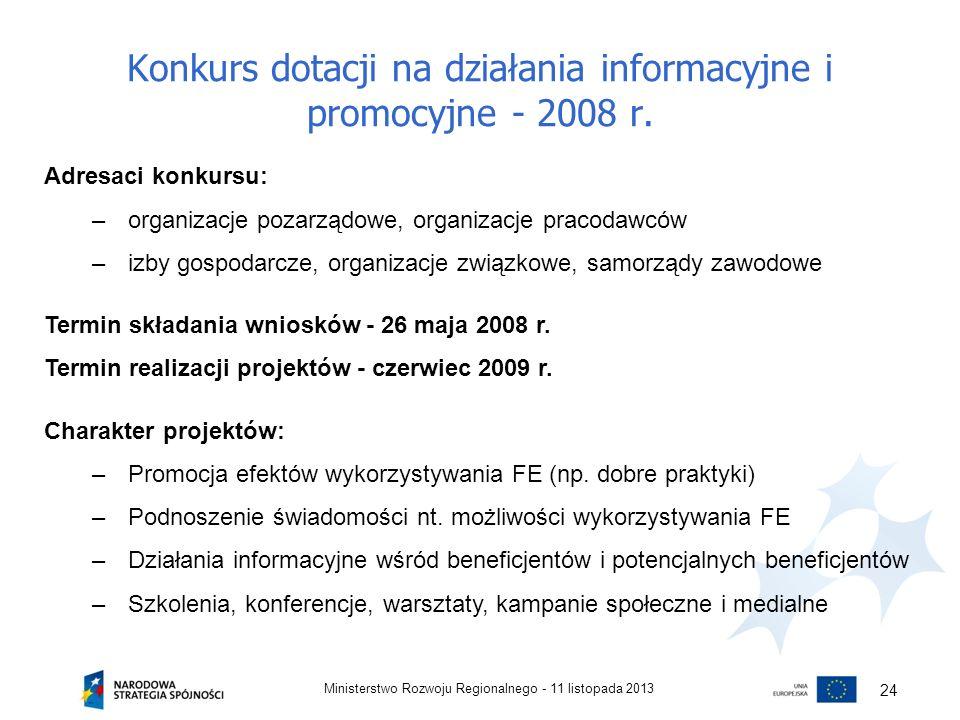Konkurs dotacji na działania informacyjne i promocyjne - 2008 r. 11 listopada 2013Ministerstwo Rozwoju Regionalnego - 24 Adresaci konkursu: –organizac