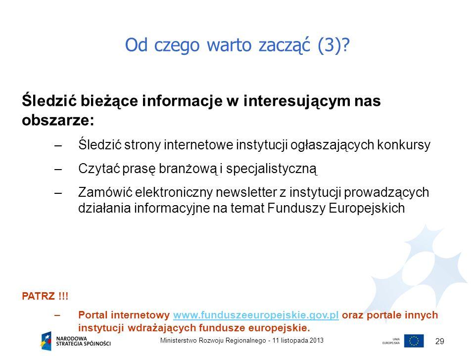 Od czego warto zacząć (3)? 11 listopada 2013Ministerstwo Rozwoju Regionalnego - 29 Śledzić bieżące informacje w interesującym nas obszarze: –Śledzić s