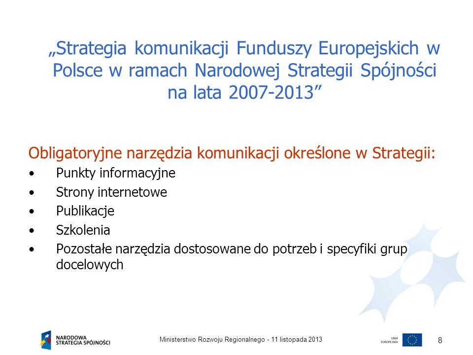Strategia komunikacji Funduszy Europejskich w Polsce w ramach Narodowej Strategii Spójności na lata 2007-2013 Obligatoryjne narzędzia komunikacji okre