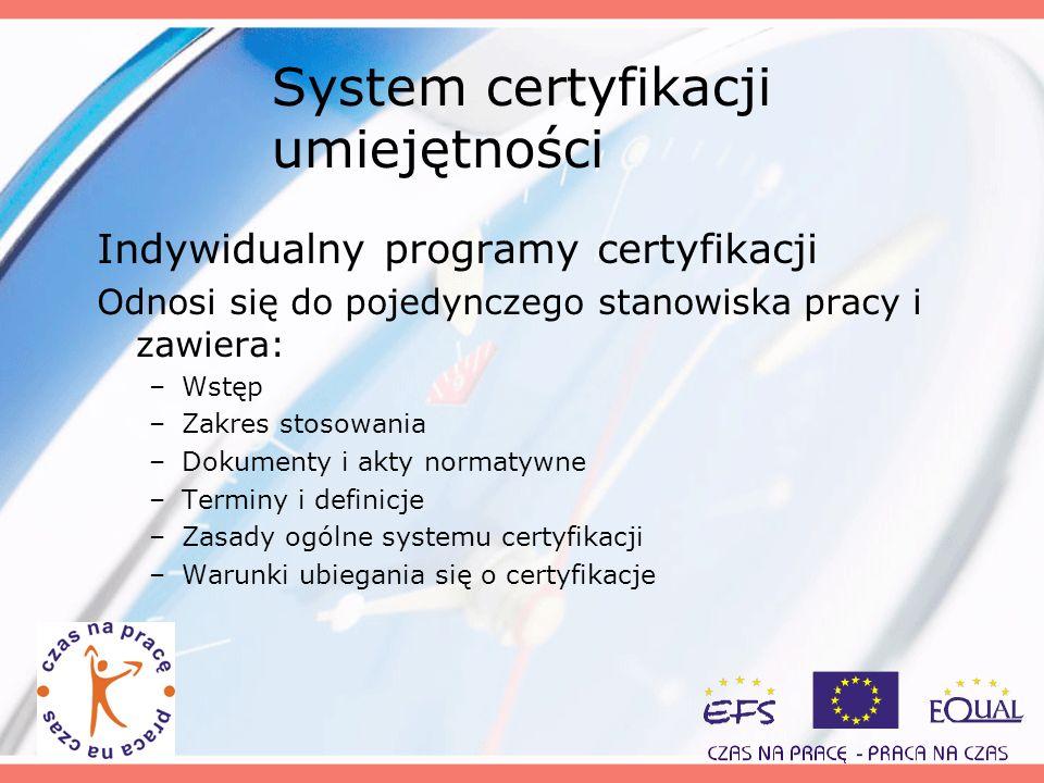 System certyfikacji umiejętności Indywidualny programy certyfikacji Odnosi się do pojedynczego stanowiska pracy i zawiera: –Wstęp –Zakres stosowania –