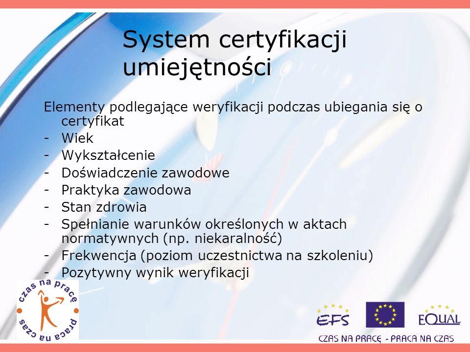 System certyfikacji umiejętności Elementy podlegające weryfikacji podczas ubiegania się o certyfikat -Wiek -Wykształcenie -Doświadczenie zawodowe -Pra