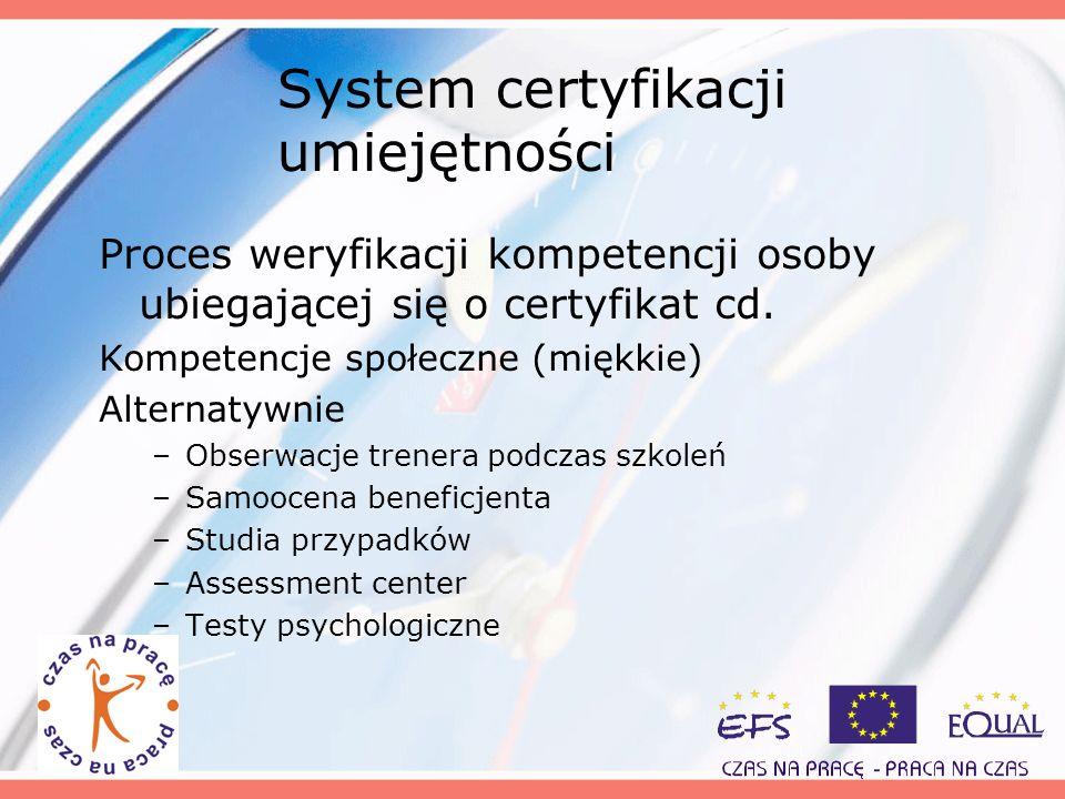 System certyfikacji umiejętności Proces weryfikacji kompetencji osoby ubiegającej się o certyfikat cd. Kompetencje społeczne (miękkie) Alternatywnie –