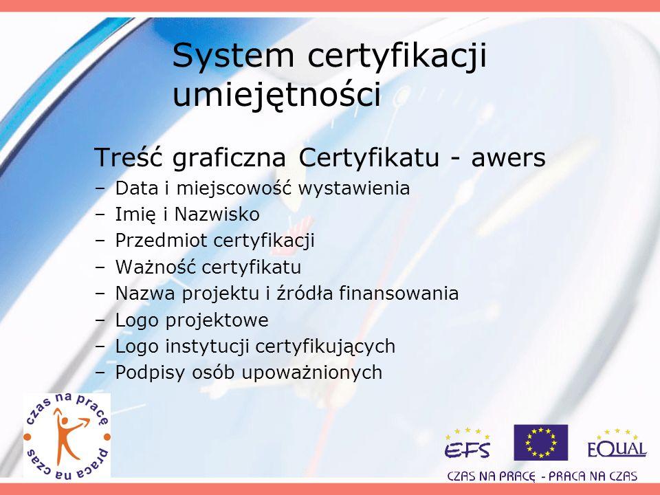 System certyfikacji umiejętności Treść graficzna Certyfikatu - awers –Data i miejscowość wystawienia –Imię i Nazwisko –Przedmiot certyfikacji –Ważność