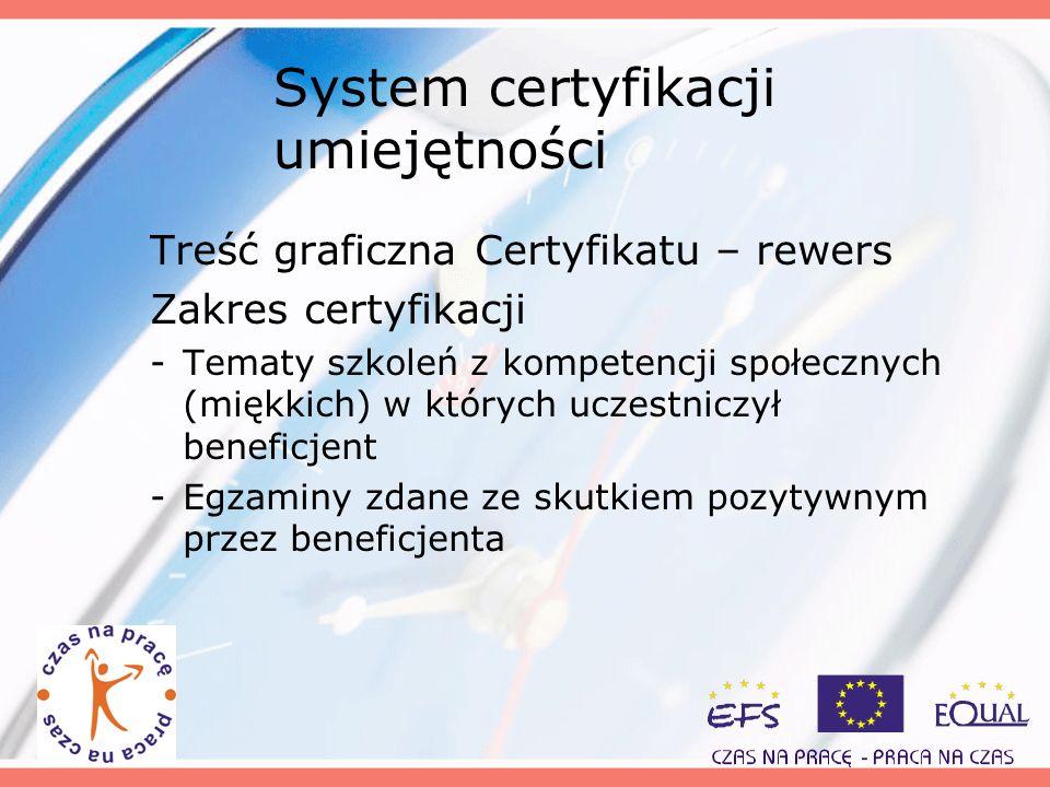 System certyfikacji umiejętności Treść graficzna Certyfikatu – rewers Zakres certyfikacji -Tematy szkoleń z kompetencji społecznych (miękkich) w który
