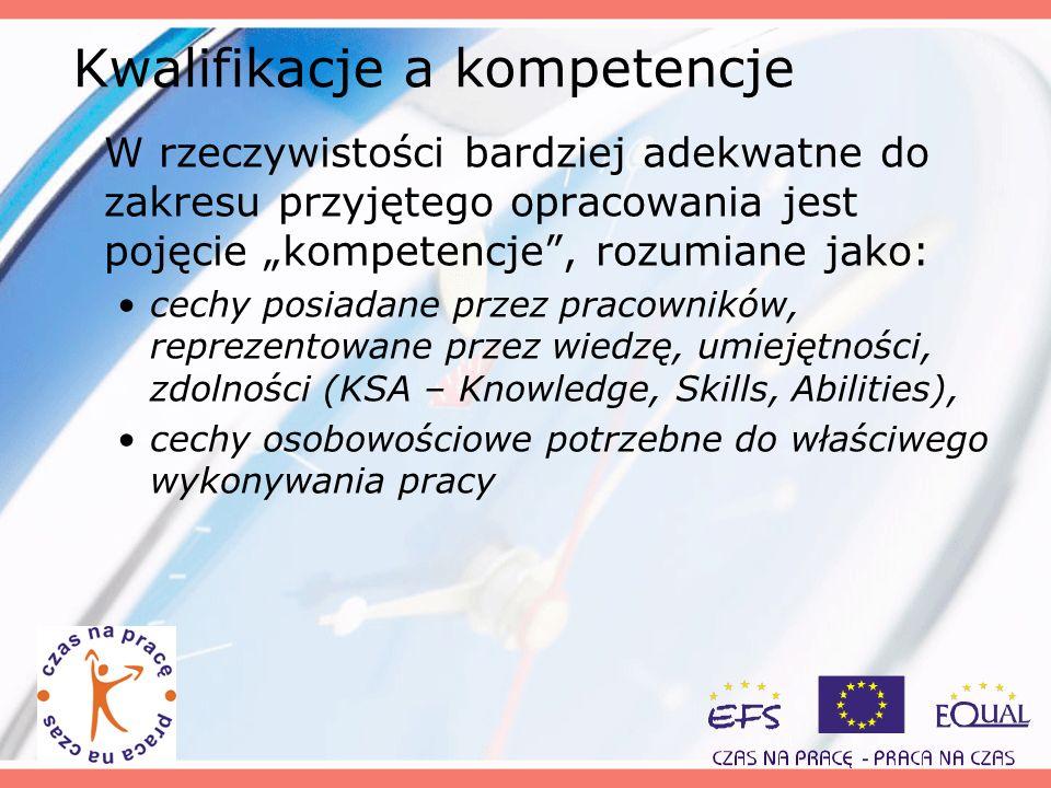 Kwalifikacje a kompetencje W rzeczywistości bardziej adekwatne do zakresu przyjętego opracowania jest pojęcie kompetencje, rozumiane jako: cechy posia