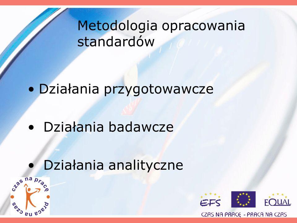 Metodologia opracowania standardów Działania przygotowawcze Działania badawcze Działania analityczne