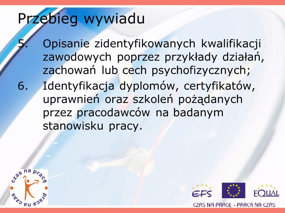 Przebieg wywiadu 5.Opisanie zidentyfikowanych kwalifikacji zawodowych poprzez przykłady działań, zachowań lub cech psychofizycznych; 6.Identyfikacja d