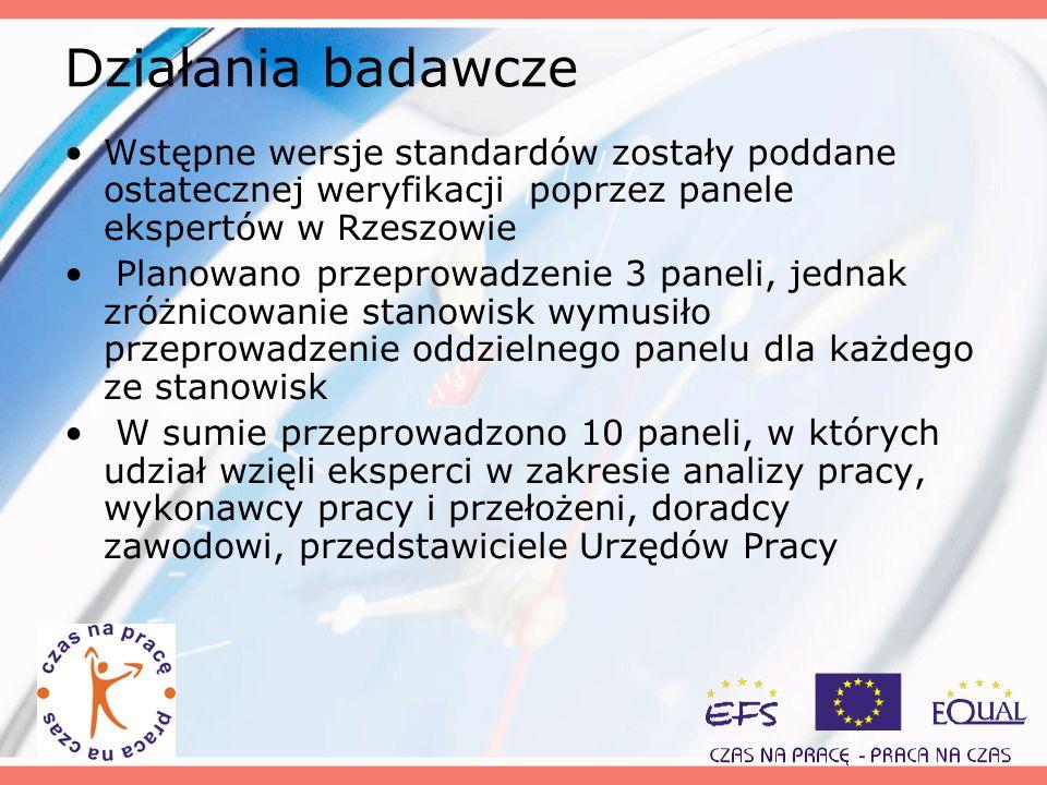 Działania badawcze Wstępne wersje standardów zostały poddane ostatecznej weryfikacji poprzez panele ekspertów w Rzeszowie Planowano przeprowadzenie 3