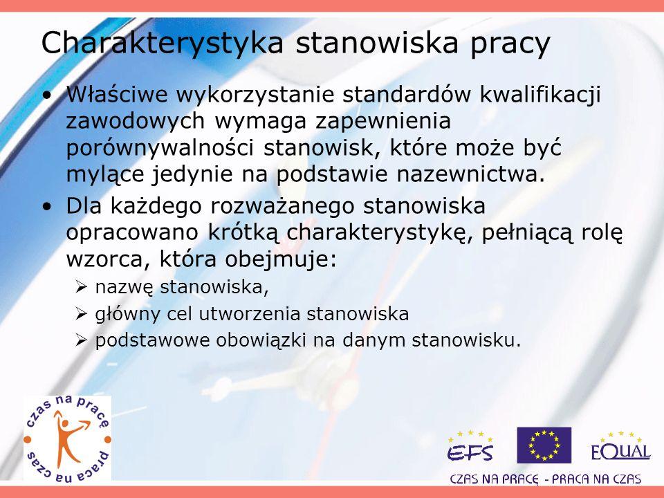 Charakterystyka stanowiska pracy Właściwe wykorzystanie standardów kwalifikacji zawodowych wymaga zapewnienia porównywalności stanowisk, które może by