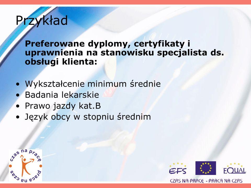 Przykład Preferowane dyplomy, certyfikaty i uprawnienia na stanowisku specjalista ds. obsługi klienta: Wykształcenie minimum średnie Badania lekarskie
