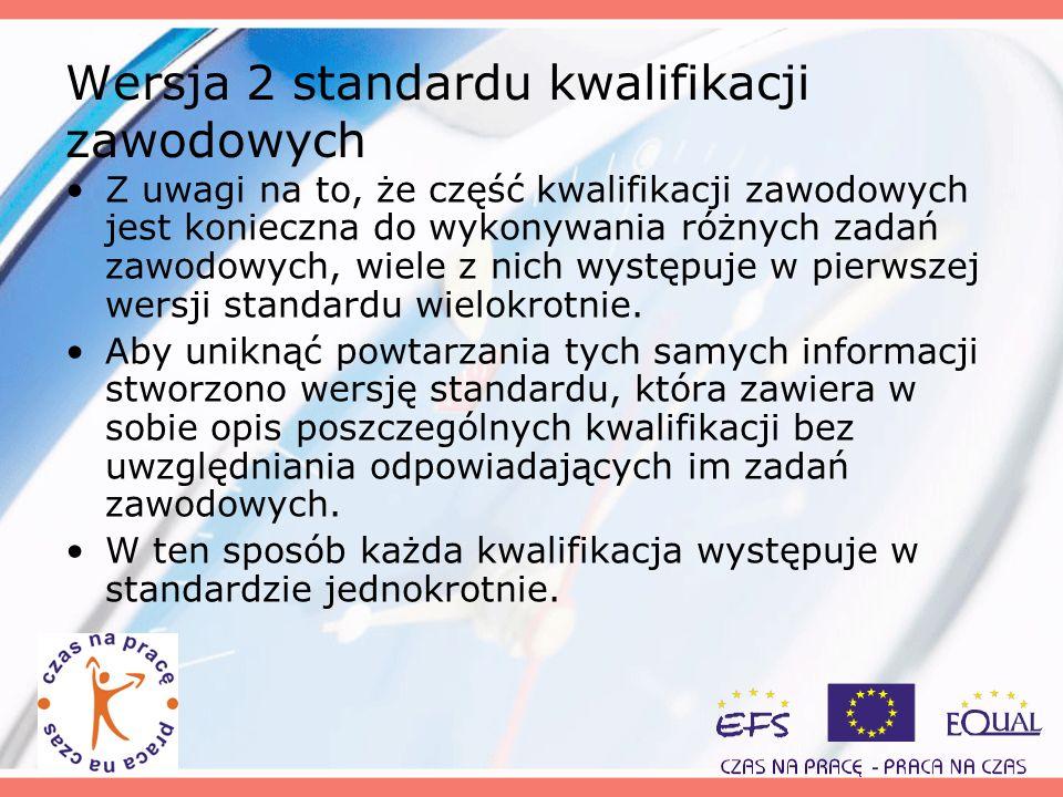 Wersja 2 standardu kwalifikacji zawodowych Z uwagi na to, że część kwalifikacji zawodowych jest konieczna do wykonywania różnych zadań zawodowych, wie