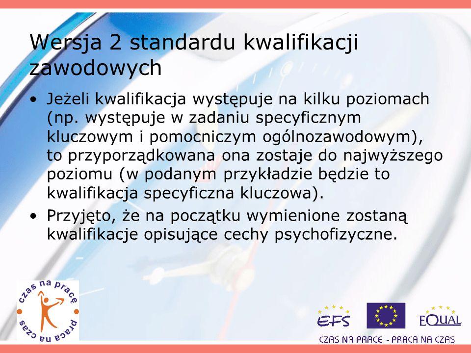 Wersja 2 standardu kwalifikacji zawodowych Jeżeli kwalifikacja występuje na kilku poziomach (np. występuje w zadaniu specyficznym kluczowym i pomocnic