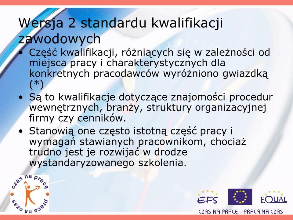 Wersja 2 standardu kwalifikacji zawodowych Część kwalifikacji, różniących się w zależności od miejsca pracy i charakterystycznych dla konkretnych prac