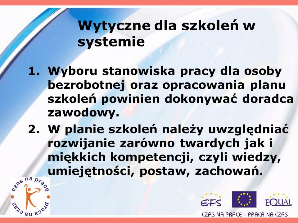 Wytyczne dla szkoleń w systemie 1.Wyboru stanowiska pracy dla osoby bezrobotnej oraz opracowania planu szkoleń powinien dokonywać doradca zawodowy. 2.