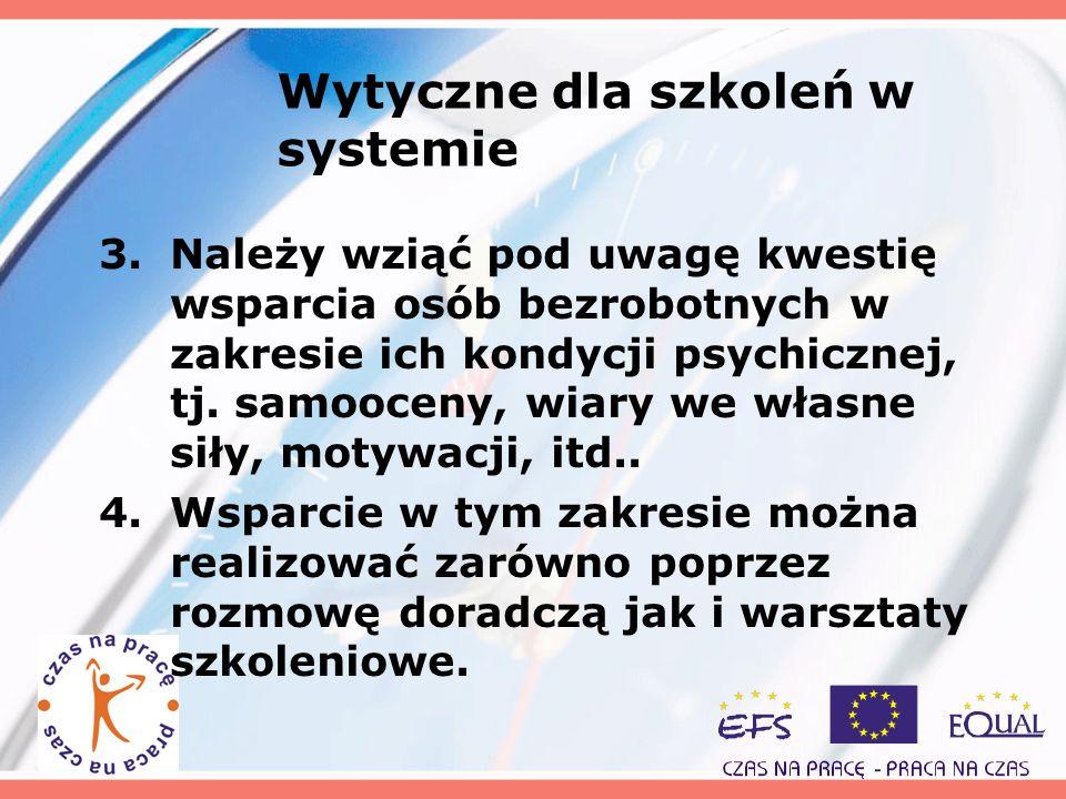 Wytyczne dla szkoleń w systemie 3.Należy wziąć pod uwagę kwestię wsparcia osób bezrobotnych w zakresie ich kondycji psychicznej, tj. samooceny, wiary