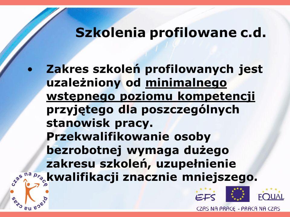 Szkolenia profilowane c.d. Zakres szkoleń profilowanych jest uzależniony od minimalnego wstępnego poziomu kompetencji przyjętego dla poszczególnych st
