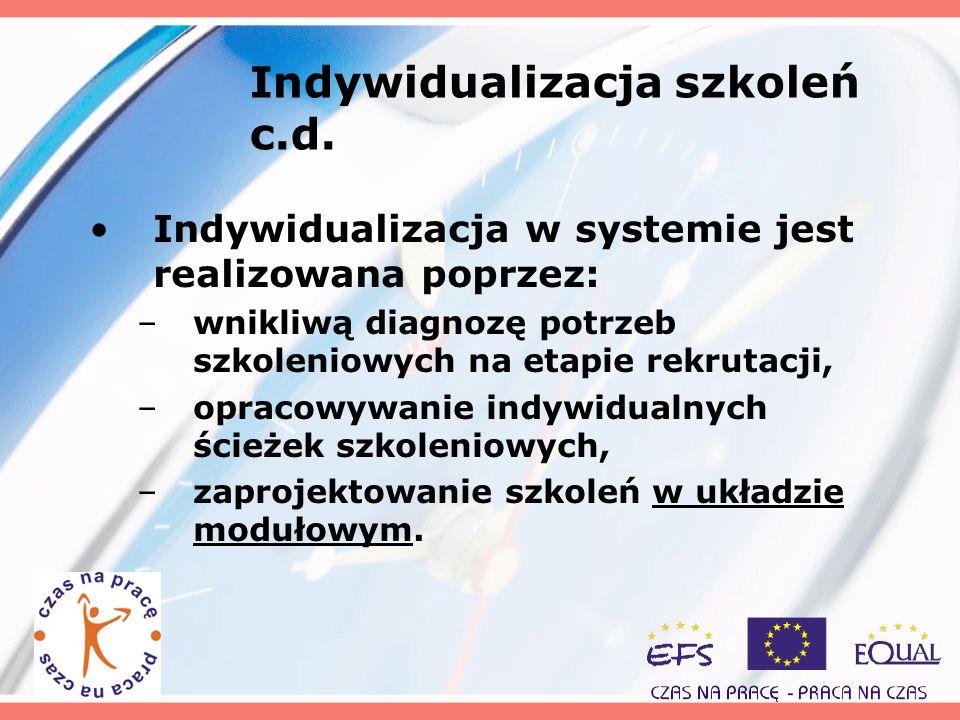 Indywidualizacja szkoleń c.d. Indywidualizacja w systemie jest realizowana poprzez: –wnikliwą diagnozę potrzeb szkoleniowych na etapie rekrutacji, –op