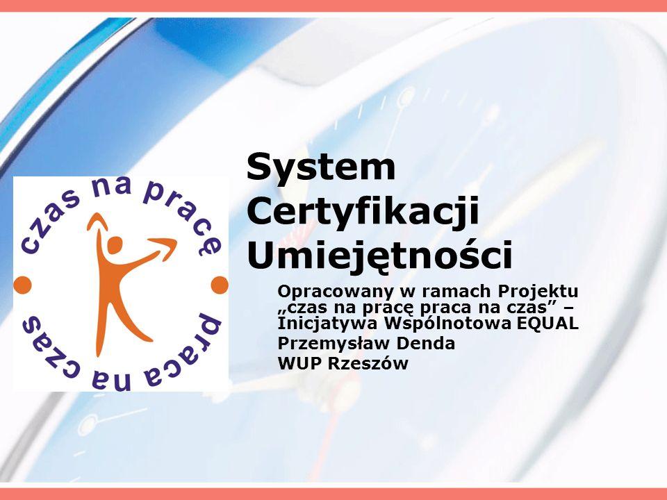 System Certyfikacji Umiejętności Opracowany w ramach Projektu czas na pracę praca na czas – Inicjatywa Wspólnotowa EQUAL Przemysław Denda WUP Rzeszów