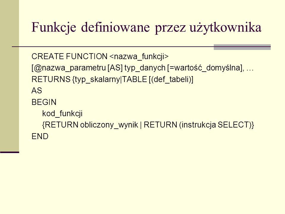 Funkcje definiowane przez użytkownika CREATE FUNCTION [@nazwa_parametru [AS] typ_danych [=wartość_domyślna], … RETURNS {typ_skalarny|TABLE [(def_tabel