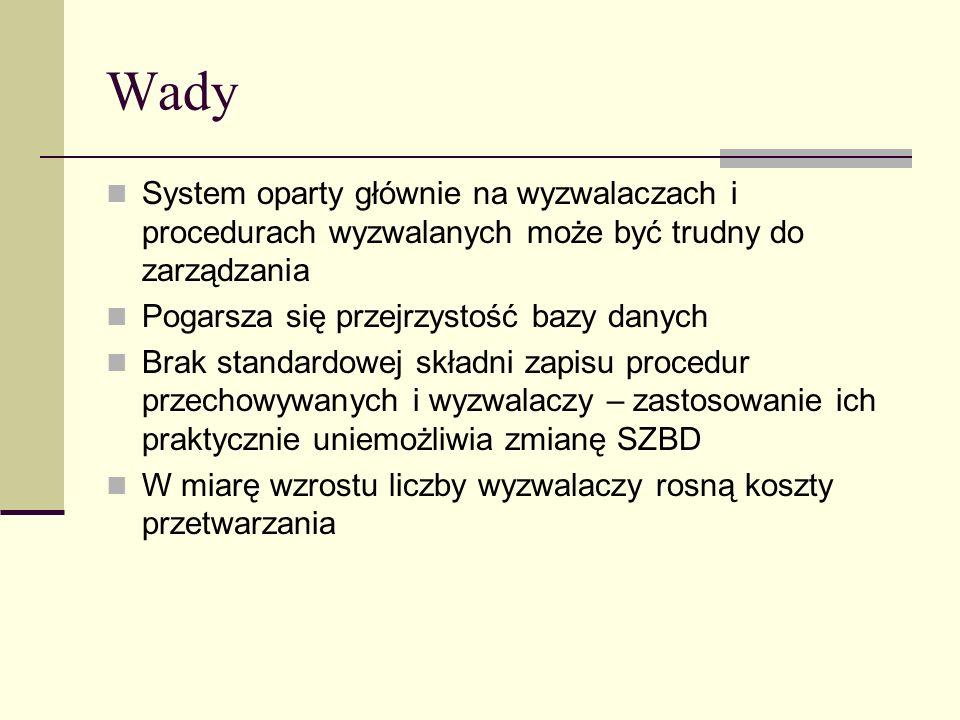 Wady System oparty głównie na wyzwalaczach i procedurach wyzwalanych może być trudny do zarządzania Pogarsza się przejrzystość bazy danych Brak standa