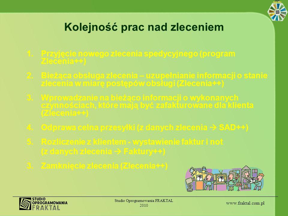 www.fraktal.com.pl Studio Oprogramowania FRAKTAL 2010 Kolejność prac nad zleceniem 1.Przyjęcie nowego zlecenia spedycyjnego (program Zlecenia++) 2.Bie
