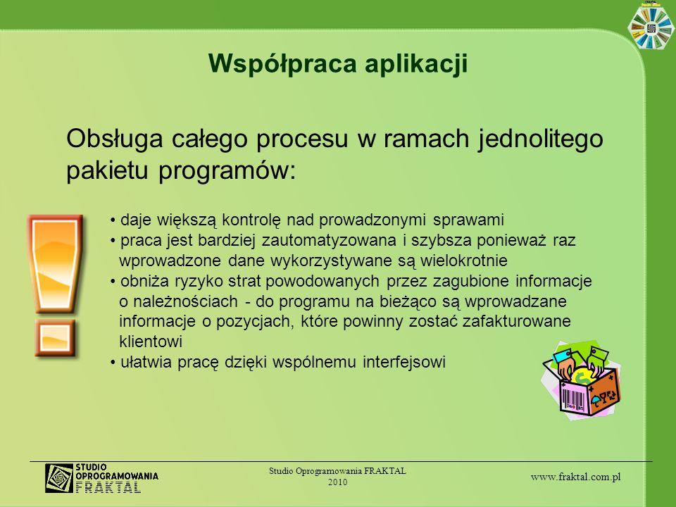 www.fraktal.com.pl Studio Oprogramowania FRAKTAL 2010 Bieżąca obsługa zlecenia Informacje celno-spedycyjne uzupełniane są w miarę obsługi zlecenia: Terminy związane ze spedycją przesyłki Dokumenty i terminy związane z odprawą celną przesyłki