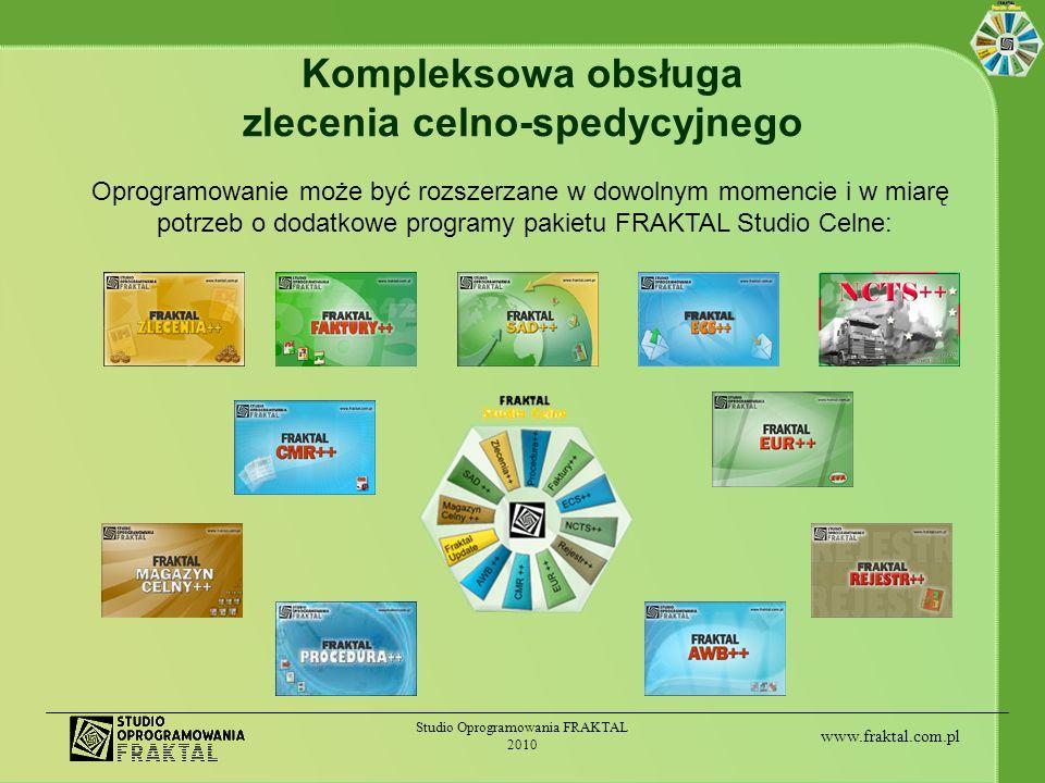 www.fraktal.com.pl Studio Oprogramowania FRAKTAL 2010 Kompleksowa obsługa zlecenia celno-spedycyjnego Oprogramowanie może być rozszerzane w dowolnym m