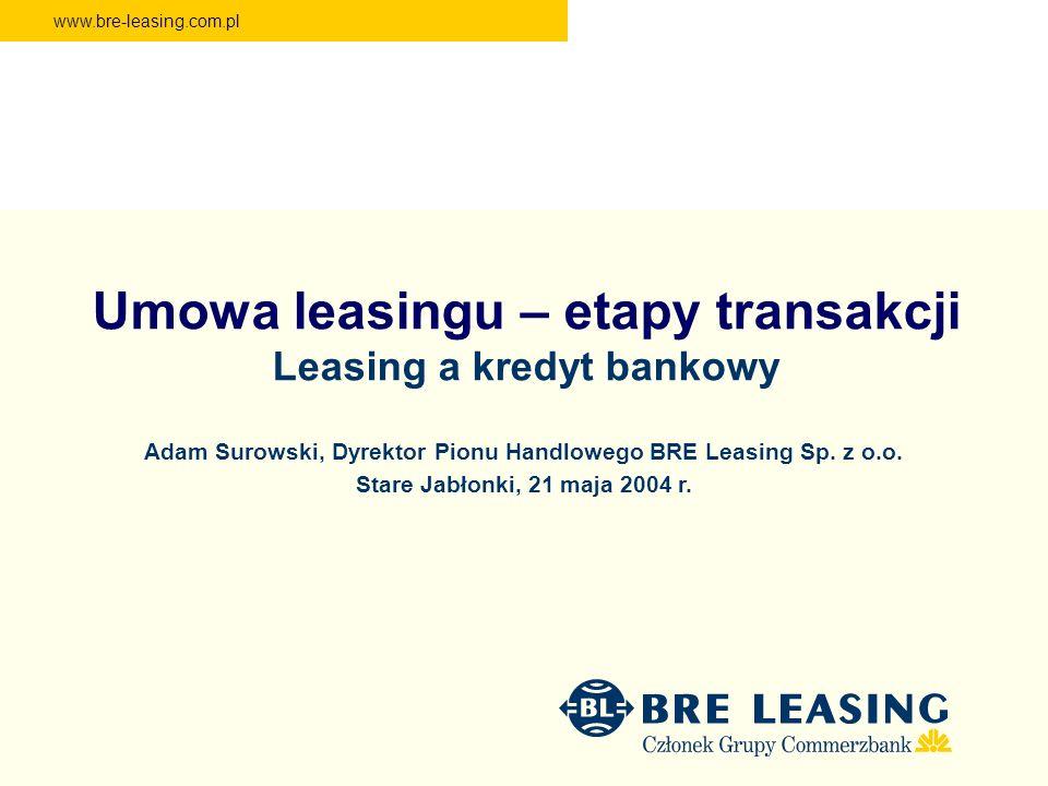www.bre-leasing.com.pl Umowa leasingu – etapy transakcji Leasing a kredyt bankowy Adam Surowski, Dyrektor Pionu Handlowego BRE Leasing Sp. z o.o. Star