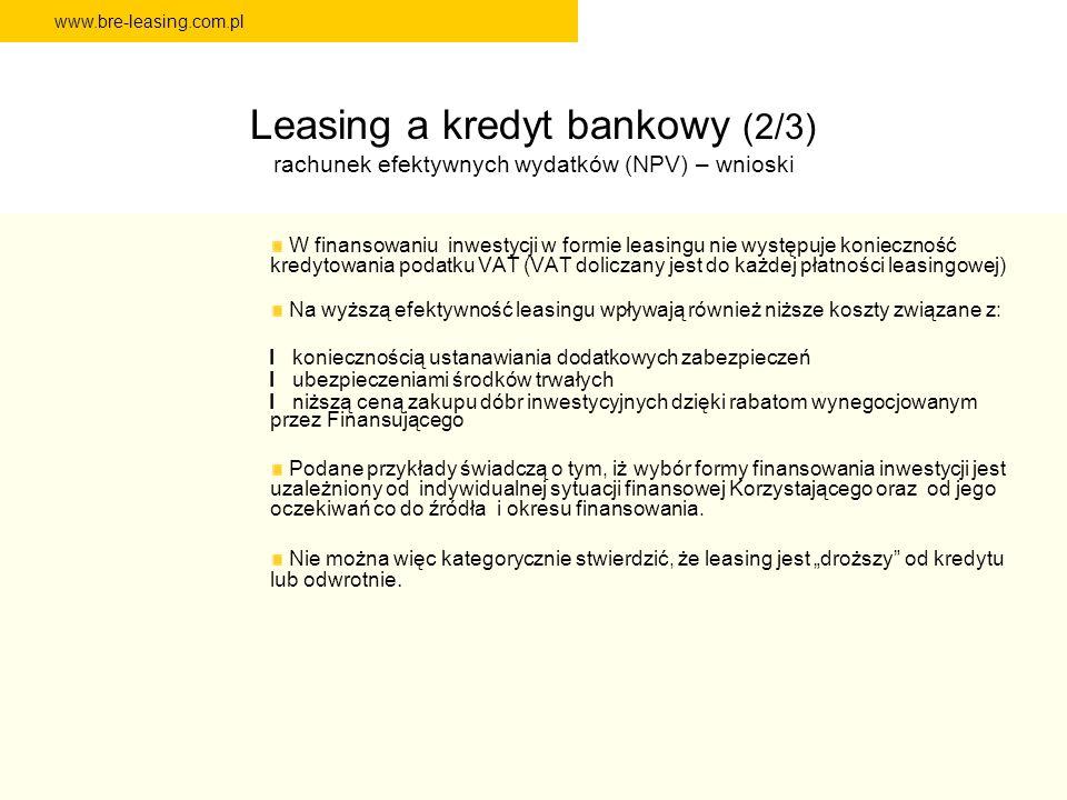 www.bre-leasing.com.pl Leasing a kredyt bankowy (2/3) rachunek efektywnych wydatków (NPV) – wnioski W finansowaniu inwestycji w formie leasingu nie wy