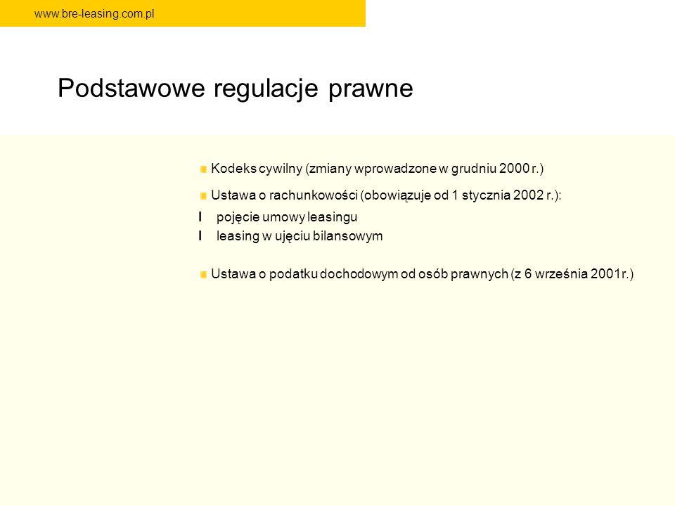 www.bre-leasing.com.pl Podstawowe regulacje prawne Kodeks cywilny (zmiany wprowadzone w grudniu 2000 r.) Ustawa o rachunkowości (obowiązuje od 1 stycz