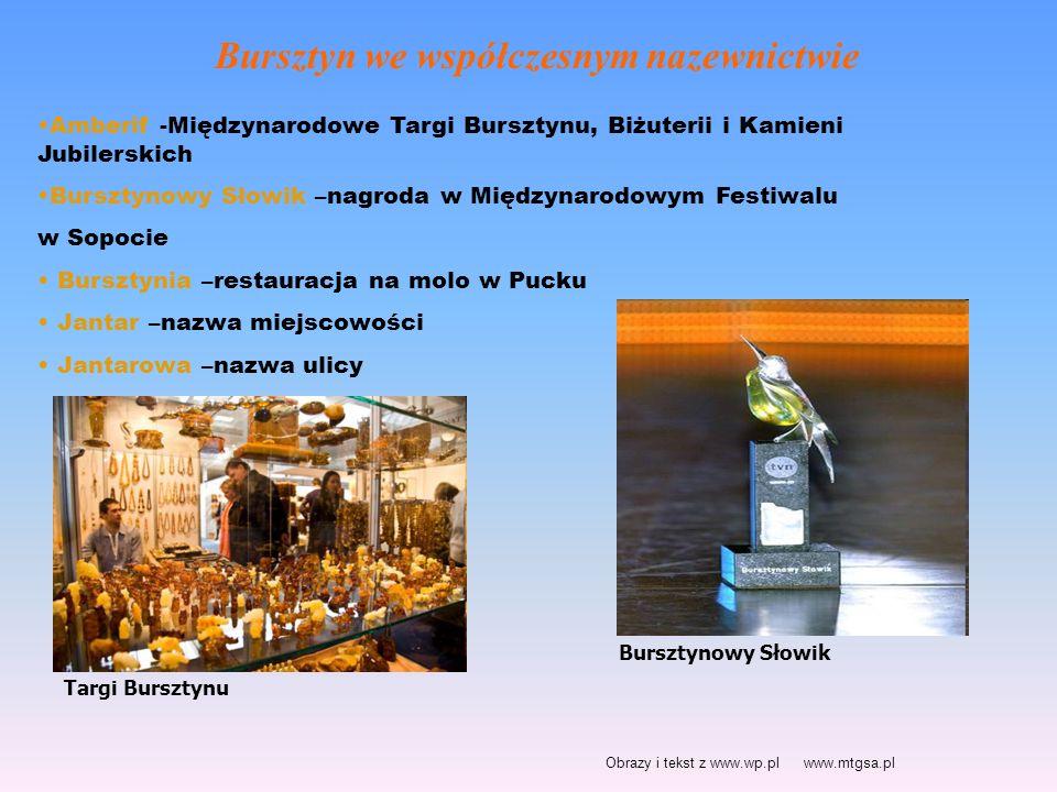 Bursztyn we współczesnym nazewnictwie Amberif -Międzynarodowe Targi Bursztynu, Biżuterii i Kamieni Jubilerskich Bursztynowy Słowik –nagroda w Międzyna