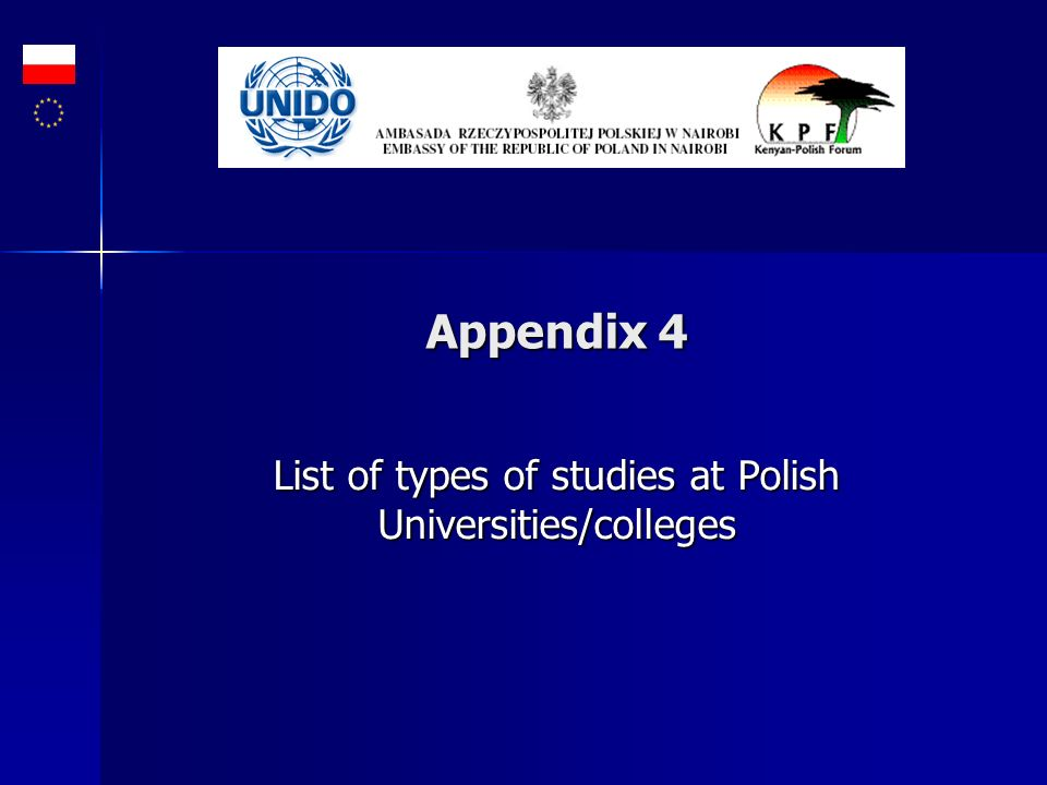 Appendix 4 List of types of studies at Polish Universities/colleges