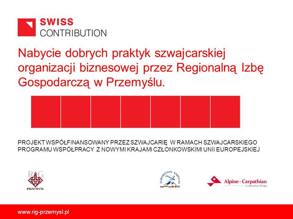 Nabycie dobrych praktyk szwajcarskiej organizacji biznesowej przez Regionalną Izbę Gospodarczą w Przemyślu. PROJEKT WSPÓŁFINANSOWANY PRZEZ SZWAJCARIĘ