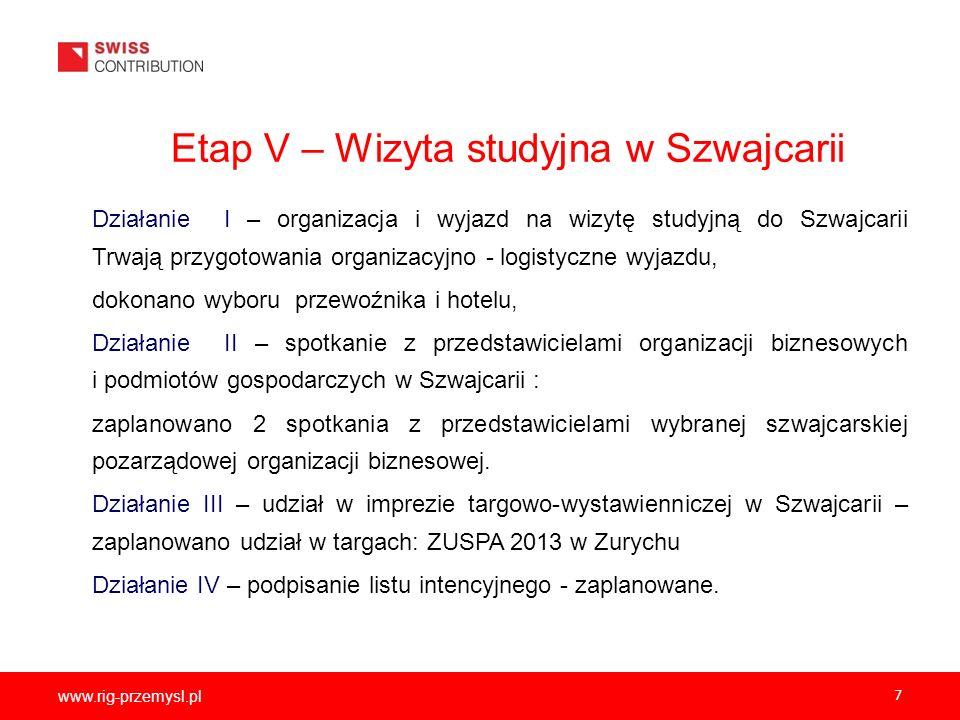 www.rig-przemysl.pl 7 Etap V – Wizyta studyjna w Szwajcarii Działanie I – organizacja i wyjazd na wizytę studyjną do Szwajcarii Trwają przygotowania o