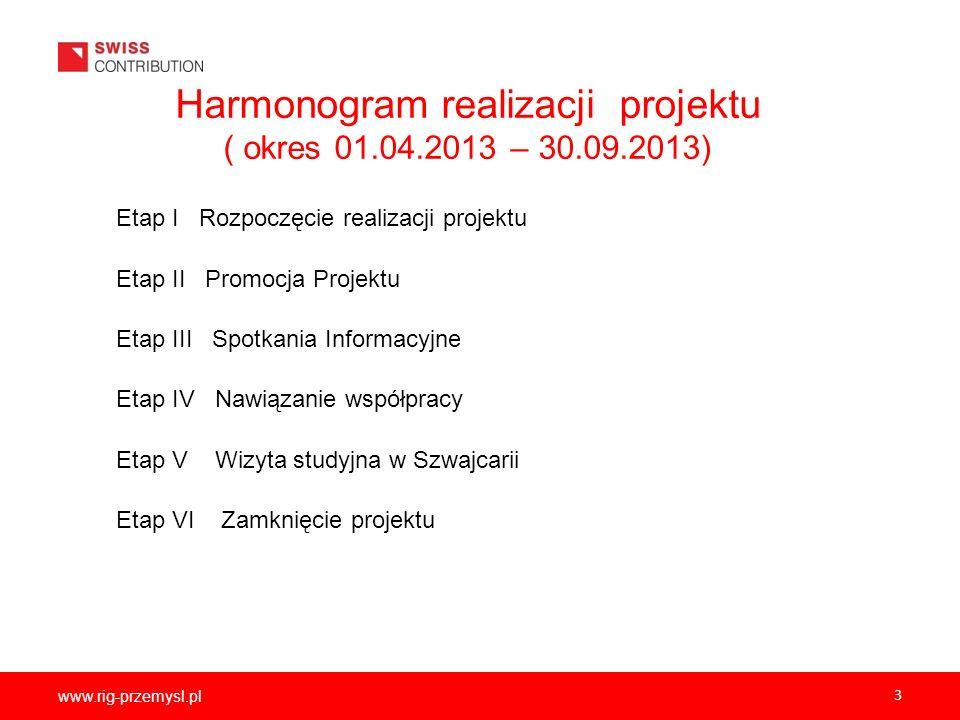 www.rig-przemysl.pl 3 Harmonogram realizacji projektu ( okres 01.04.2013 – 30.09.2013) Etap I Rozpoczęcie realizacji projektu Etap II Promocja Projekt