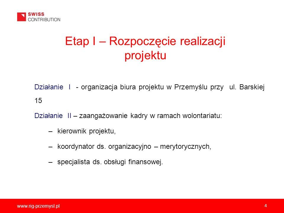 www.rig-przemysl.pl 4 Etap I – Rozpoczęcie realizacji projektu Działanie I - organizacja biura projektu w Przemyślu przy ul. Barskiej 15 Działanie II