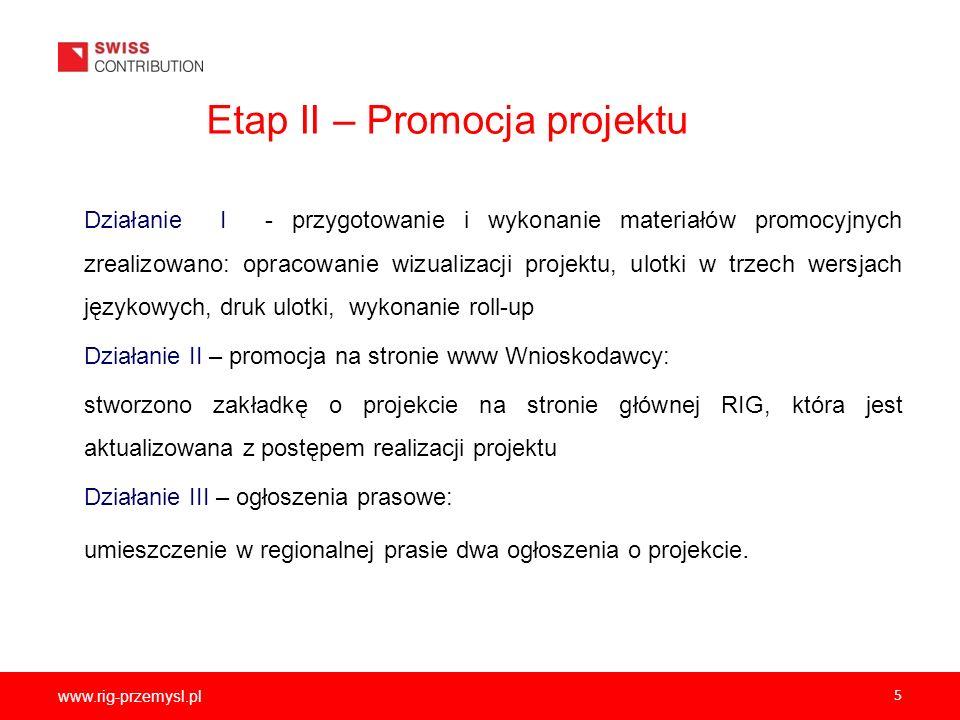 www.rig-przemysl.pl 5 Etap II – Promocja projektu Działanie I - przygotowanie i wykonanie materiałów promocyjnych zrealizowano: opracowanie wizualizac