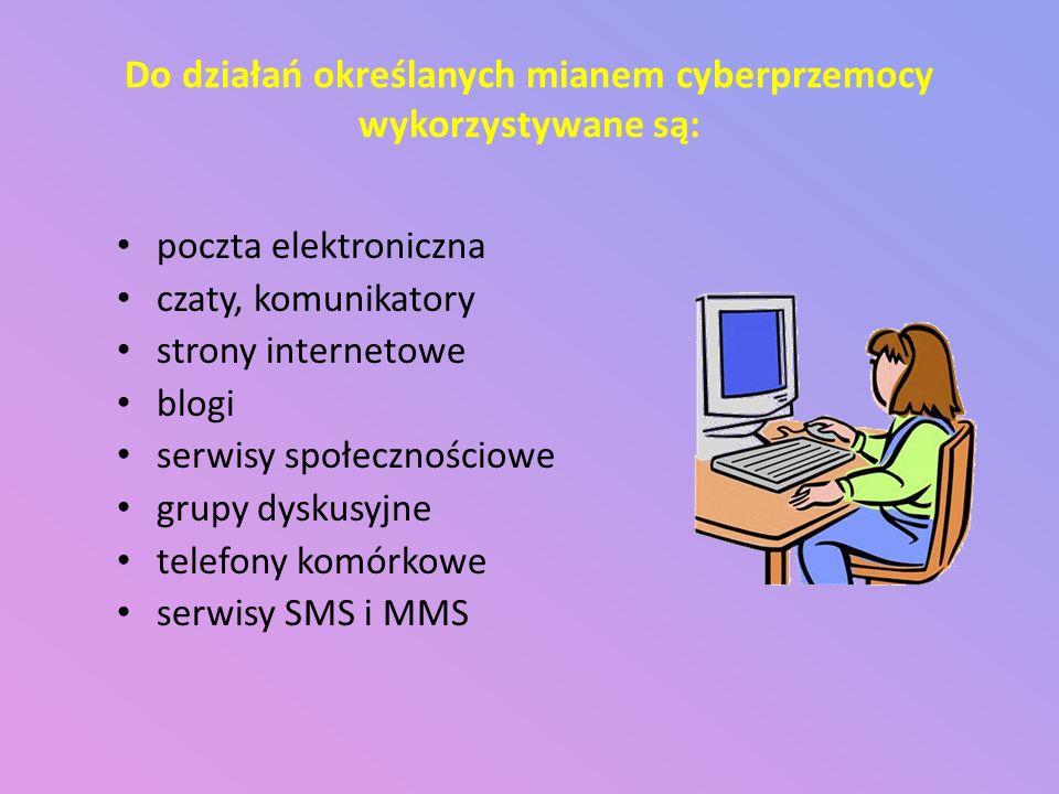 Do działań określanych mianem cyberprzemocy wykorzystywane są: poczta elektroniczna czaty, komunikatory strony internetowe blogi serwisy społecznościo