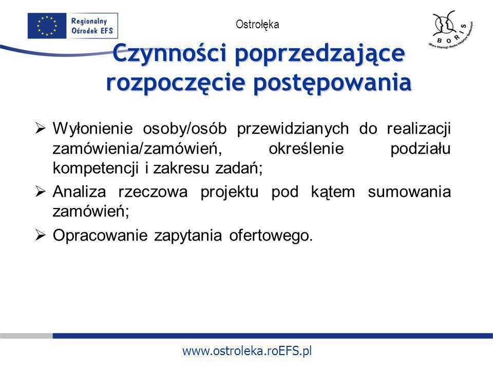 www.ostroleka.roEFS.pl Ostrołęka Czynności poprzedzające rozpoczęcie postępowania Wyłonienie osoby/osób przewidzianych do realizacji zamówienia/zamówi