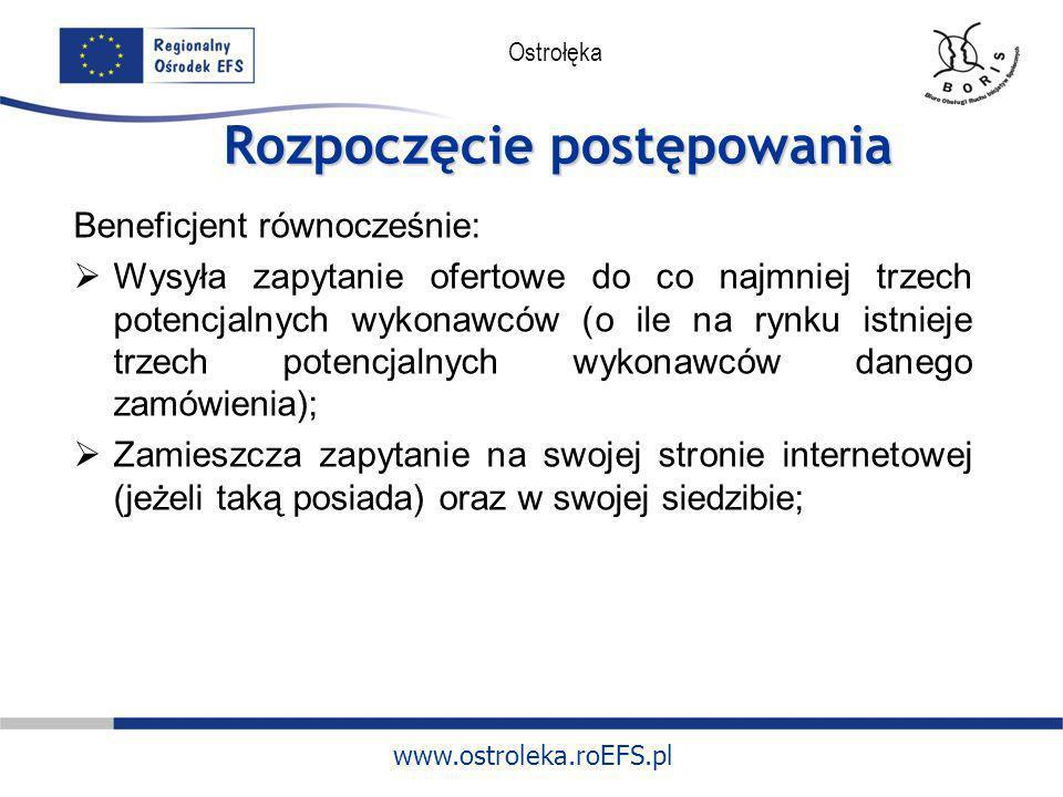 www.ostroleka.roEFS.pl Ostrołęka Rozpoczęcie postępowania Beneficjent równocześnie: Wysyła zapytanie ofertowe do co najmniej trzech potencjalnych wyko