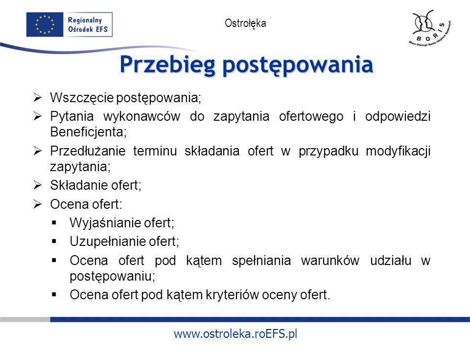 www.ostroleka.roEFS.pl Ostrołęka Przebieg postępowania Wszczęcie postępowania; Pytania wykonawców do zapytania ofertowego i odpowiedzi Beneficjenta; P