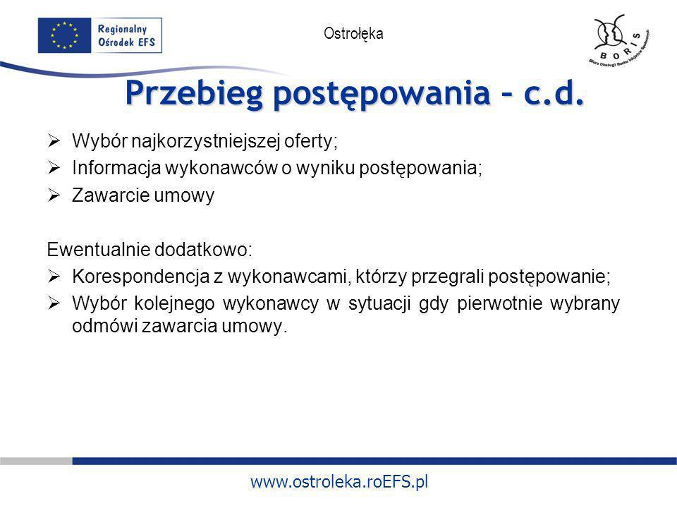 www.ostroleka.roEFS.pl Ostrołęka Przebieg postępowania – c.d. Wybór najkorzystniejszej oferty; Informacja wykonawców o wyniku postępowania; Zawarcie u